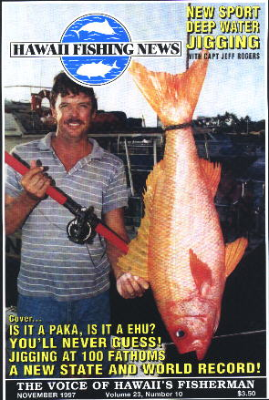 Hawaii Fishing News: Capt. Jeff with the famous world/state record Randall's Snapper. This beat the old record by more than double!